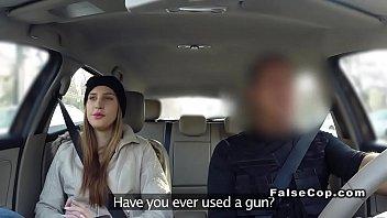 Brunette fucks cop and sucks dildo