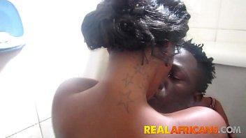 My African girlfriend sucking cock in toilet
