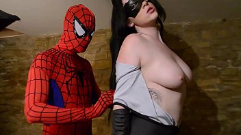 Spiderman costume with penis pocket - Catwoman takes spidermans web on her big tits