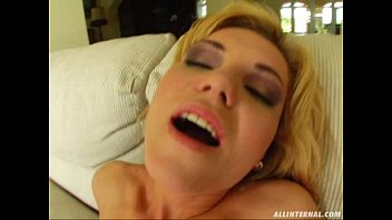All Internal Blonde's pussy is fucked. Cum oozes out of her pussy image