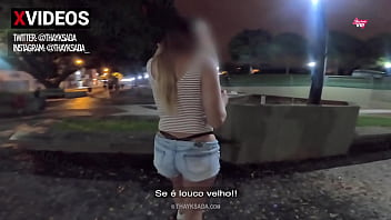 Hot wife showing off on the street