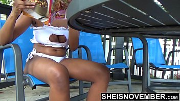 Cleavage sexy woman Sheisnovember down blouse areolas exposed in bikini pool side busty black girl cleavage naughty public flashing beautiful curves