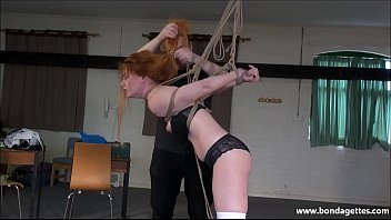 Rope bondage art - Redhead ellarnas kinky garage bondage and elegant amateur submissive