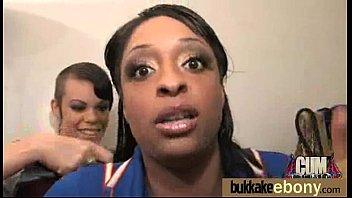 Ebony girlfriend takes huge loads of cum on her face 5