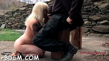 Gagged chick gets her racks bounded and clamped