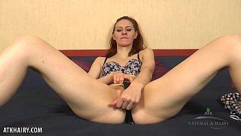 Skinny slut Ariadna Moon plays with hairy twat