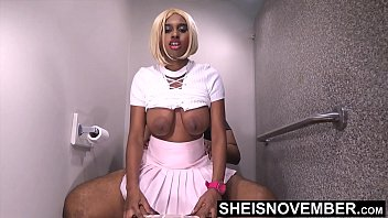 HD My Anxious Ebony Step Sister Couldn't Wait For Her Boyfriend, So She Fucked Me With Her Tight Ebony Pussy Mounting My BBC, Beautiful Sexy Blonde Ebony Msnovember Lift Her Skirt And Shirt To Ride Step Brother With Big Booty Bouncing On Sheisnovembe