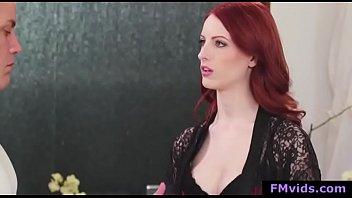 Sexy redhead babe stroking cock