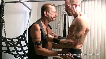 Canvas gay sex sling cheap Mature leather daddies fuck in a sling