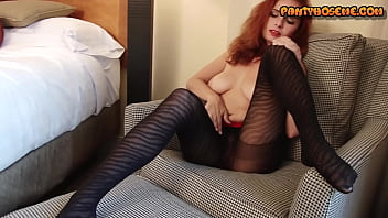 Redhead Ashley  In Designer Pantyhose Playing With Herself