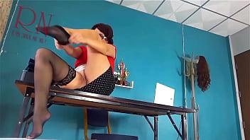 No panties secretary with Heels Hidden cam in office