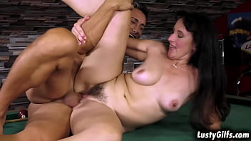Sissy accidentaly hits Mugur him in the balls with her pool stick, she grabs his cock and gives him a blowjob to make him feel good.