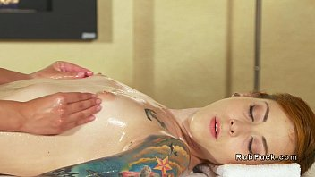 Busty lesbian Asian masseuse fingered