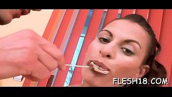 Lusty brunette Alana blows big lovestick