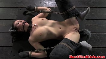 Adult kitten play bdsm Kitten play in bondage mittens tied down