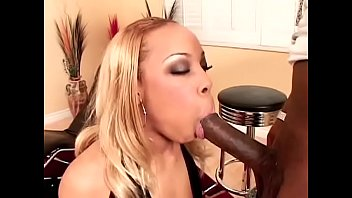Hot blonde black MILF Dynasty loves to suck then take big cock in her twat