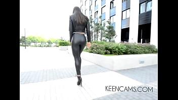 Walking boots Black leather leggings high-heeled shoes long legs