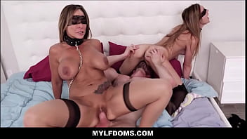 MILF Step Mom And Young Teen Step Daughter BDSM Threesome With Guy