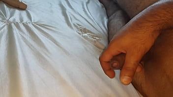 Masturbation on the mattress with sperm