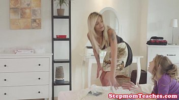 Daughter get fuck lesson from mom - Tattooed stepmom ffm fun with curious teens