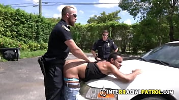 Cock hungry officers catch criminal and his cock in empty street