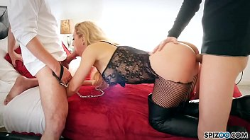 Leather lingerie tgp Spizoo - pet slut cherie de ville is fucked by two big dicks, big boobs