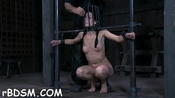 Tough beauty in shackles gets her muff pumped