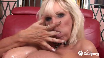Tia Gunn Licks Cum Off Her Big Phony Tits
