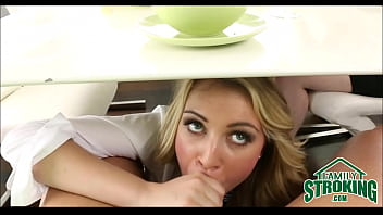 Sucking Daddy'_s Cock Under Table In Front Of Mom Cali Sparks POV