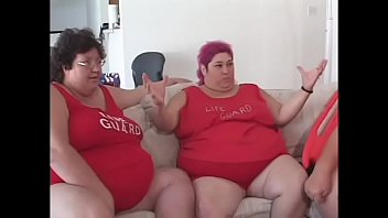 Fat bellied chick in red uniform Zazie Jeanette rides one long stick thumbnail