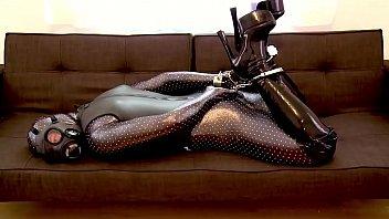 Zentai Hogtcuff on the Sofa
