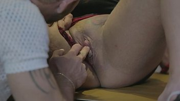 Horny housewife takes a cum porter