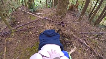 Big juicy ass teasing and fucked in the woods