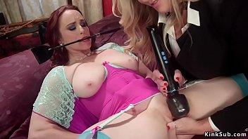 Blonde anal fucks huge tits redhead sub
