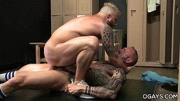 Gay locker man room sex - Huge cocked older gym man fucks a bearded one - vic rocco, riley mitchell