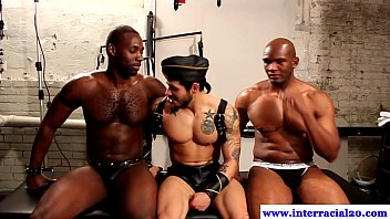 Hunky trio pleasure their penises