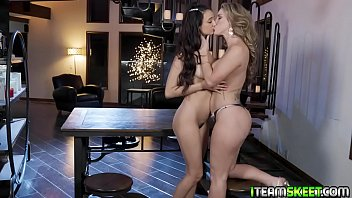 MILF Kayla Paige runs her hand up and down Eliza Ibarras thigh