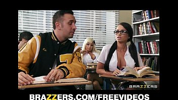 Two competing schoolgirls start a classroom threesome