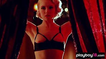 Amateur blonde pinup beauty sensual striptease show