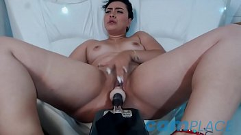 Martinna, ankle bracelet wearing cam girl, gets fucked by a fuck machine...nice!