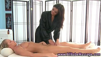Hot lesbo masseuse licks babe