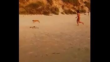Girl escapes dog with interior clothes