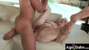 Mugur splashed his big sticky load on granny Millys bushy pussy