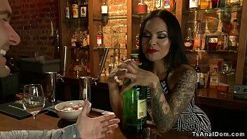 Shemale bartender anal fucks customer