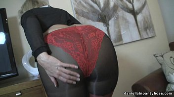 Mature panty - Sexy ass wife in seamed pantyhose panty