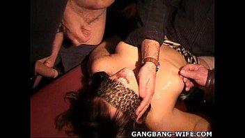 Cheating slut wives gangbanged by plenty of guys