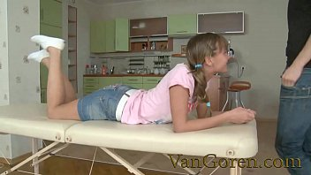 squirting blonde teen fucked on massage table