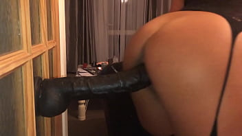 POV Closeup Filming on My iPhone of My Girlfriend - Watch this Sexy British Milf Bent Over Ramming a Huge Brutal Wall Mounted Dildo, Hard and Fast in Her Big Gapping Pussy