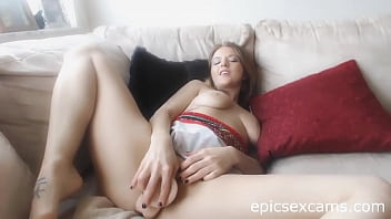 Hot Webcam Babe Masturbates On Couch With Large Dildo ~epicsexcams.com~