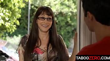 Perfect stepmom in eyeglasses seduce her stepson's best friend